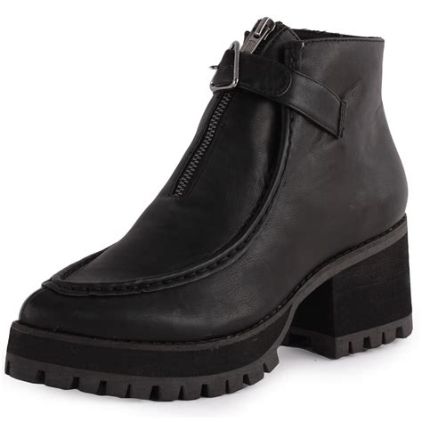 yru shoes yru clueless womens synthetic leather black ankle boots