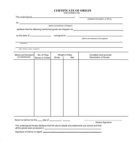 certificate of origin template pdf sle certificate of origin template 14 free documents