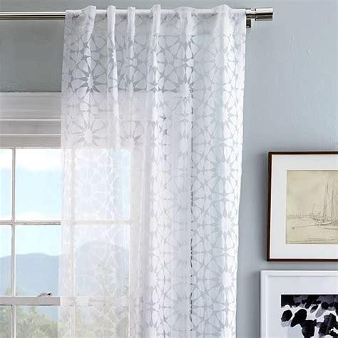 burnout curtain rosette tile burnout curtain white west elm