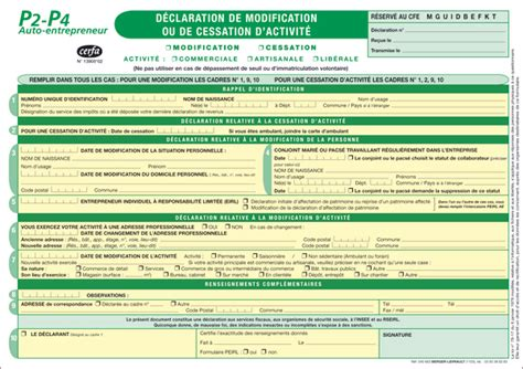 Cerfa Modification Auto Entrepreneur by P2 P4 D 233 Claration De Modification Ou De Cessation D