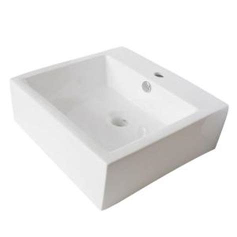kingston brass single square bathroom sink in white