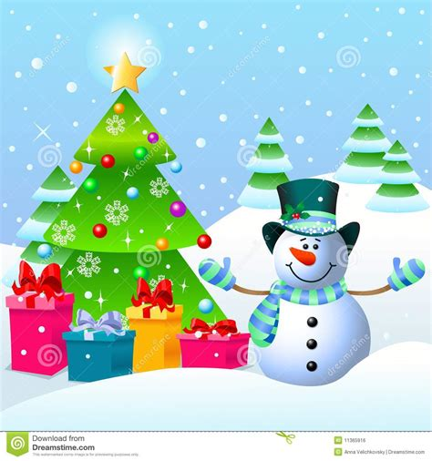 Snowman and christmas tree royalty free stock image image 11365916