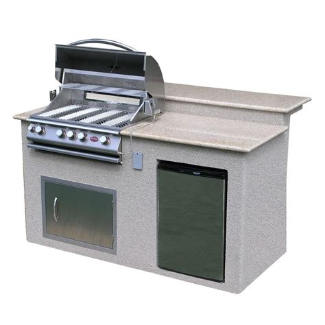 outdoor cabinet for grill cal outdoor kitchen 4 burner barbecue grill island with refrigerator e6016 the home depot