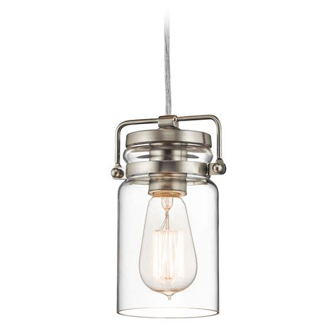 Brushed Nickel Pendant Lighting Kichler Lighting Brinley Brushed Nickel Mini Pendant Light With Cylindrical Shade 42878ni