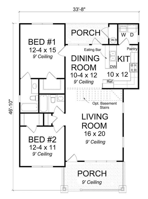 2 bedroom 2 bath open floor plans 2bedroom 2bath house plans home design