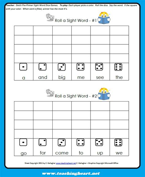 printable kindergarten dice games sight word dice game teaching heart blog teaching heart blog