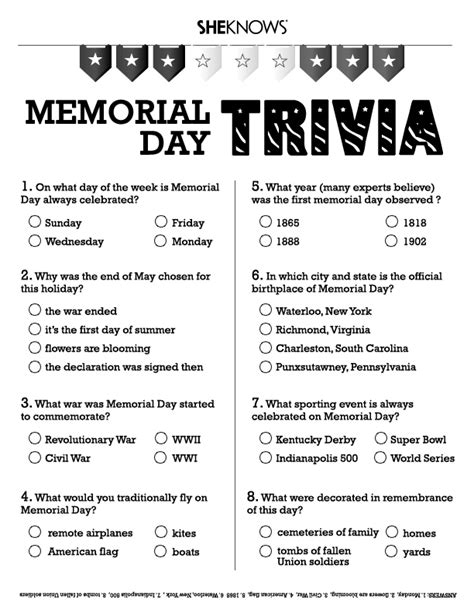 memorial day printable activity sheets memorial day trivia free printable coloring pages