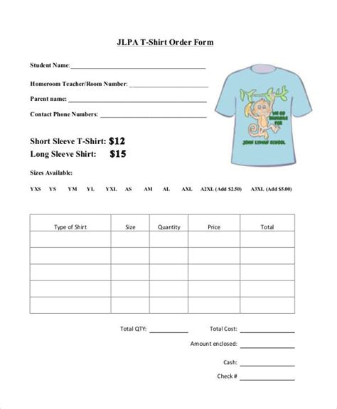 t shirt form template t shirt order form template free premium