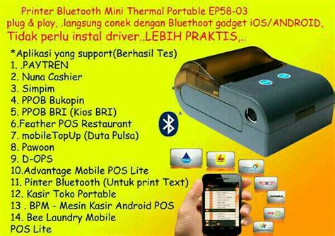 Printer Bluetooth Mini Paytren jual printer mini thermal bluetooth ep5803 58mm support paytren fury hustle di