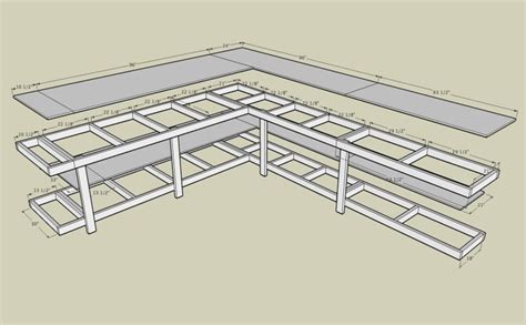 garage bench plans corner workbench with measurements plywood and 2x4