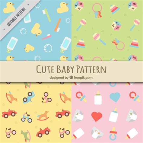 flat background pattern free flat patterns with baby elements vector free download