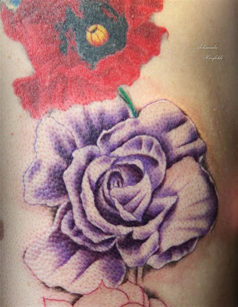 poppy and rose tattoo tattooinc realistic gallery