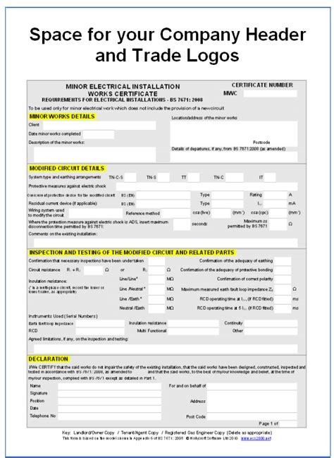 electrical installation certificate template screenshot of minor electrical works certificate