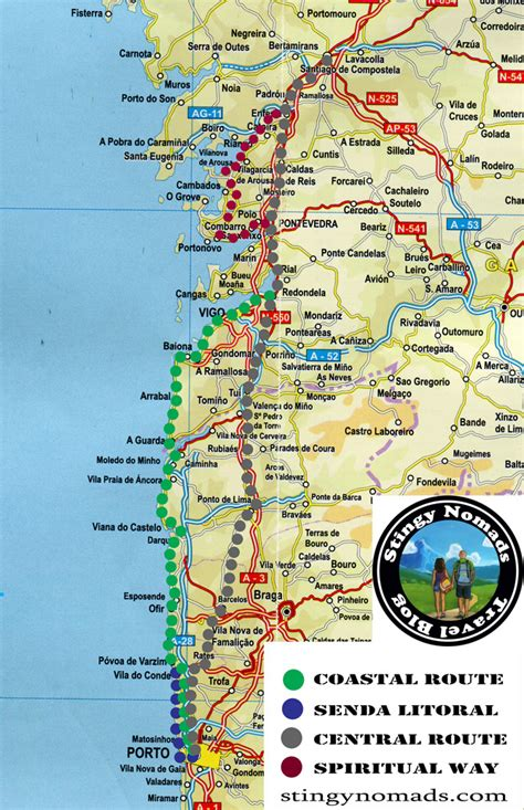 camino way map the portuguese camino detailed guide central route