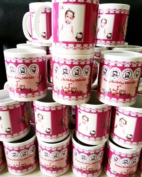 Souvenir Hers Tumbler One Month Ulang Tahun Sebulan Aqiqah Newborn toko dessert table souvenir mug gelas