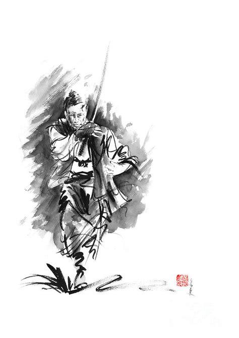 Samurai Sword Bushido Katana Martial Arts Sumi-e Original