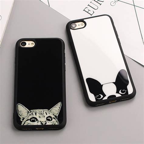 Softcase Black White Wondering luxury simple cat figure cases for iphone 8 8plus 6s