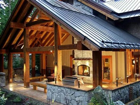 homes with outdoor living spaces beautiful timber frame outdoor living area home decor