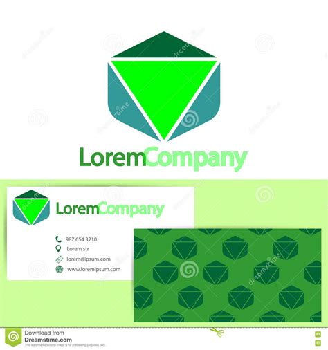 cube business card template cube logo with business card template vector vector