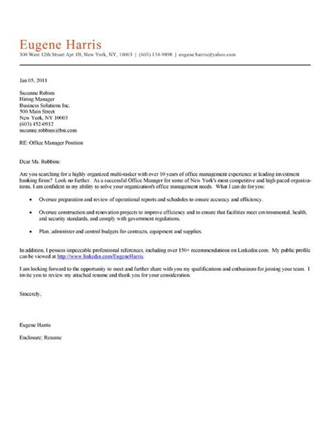 Cover Letter Exles For Office 172 best images about cover letter sles on