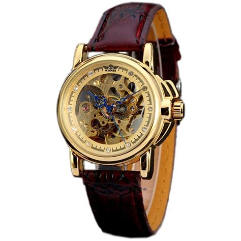 luxury brown leather gold skeleton automatic