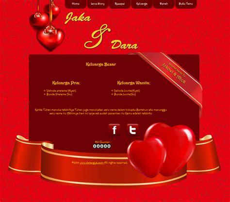 tema undangan  red love design  penuh cinta