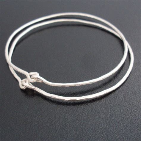 Silver Handmade Bracelets - hammered sterling silver bangle bracelets by frostedwillow