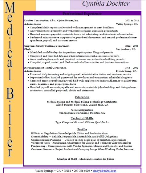 Allied Health Assistant Sle Resume by Cynthia Dockter Allied Student Resume Billing Medicalbilling Resumes For Me