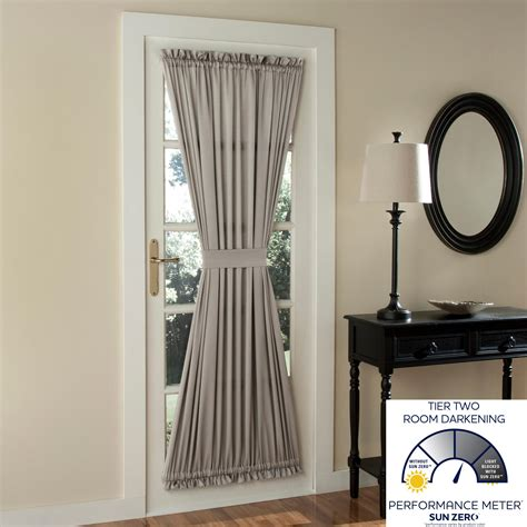 Kitchen Patio Door Curtains Sun Zero Barrow Energy Efficient Door Panel Curtain With Tie Back 54 Quot X 72 Quot
