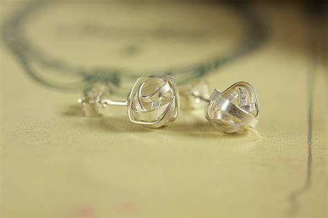 Handmade Silver Stud Earrings - handmade silver knot stud earrings by jemima lumley