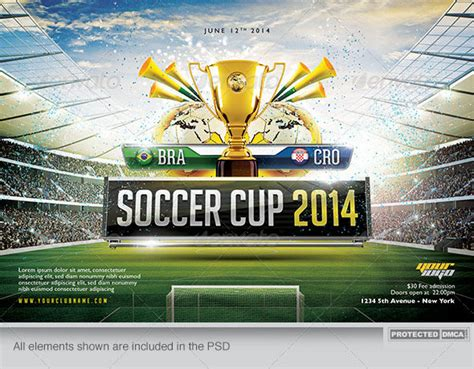 template photoshop soccer 14 world cup brazil psd flyer templates web graphic