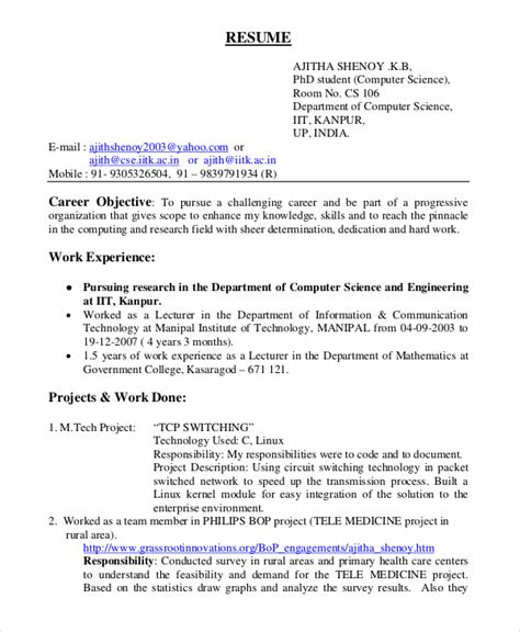 sle resume for software engineer with one year experience sle resume format for freshers software engineers 28