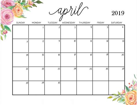 printable calendar april 2018 to march 2019 april 2019 calendar latest calendar