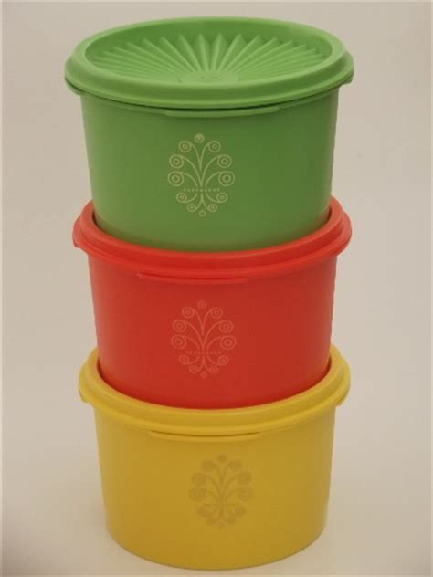 Food Canisters Kitchen unused vintage tupperware canister containers green
