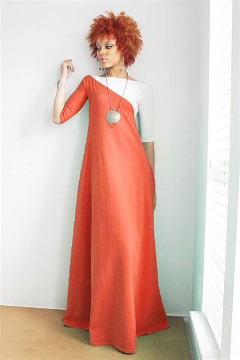 rust orange and white 3 4 sleeve maxi dress by dimiloc on