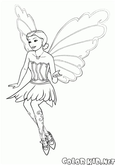 coloring page fairy butterfly in flight