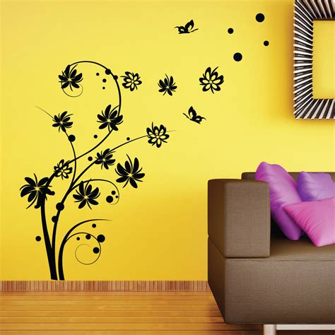 large butterfly wall stickers large butterfly swirl flower wall stickers wall decal ebay