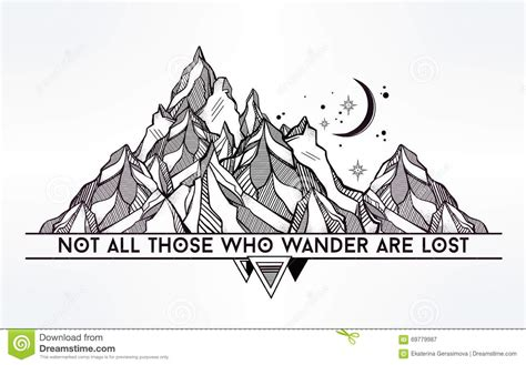 All Graphic vector ageometric mountain with typographic quote stock