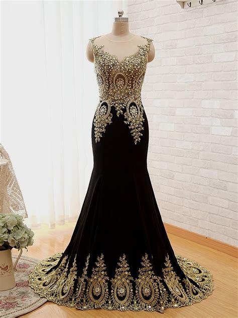 Black N Gold Prom Gown gold lace prom dress ejn dress