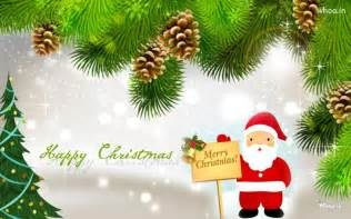 Happy merry christmas greeting cards santa claus with christmas tree