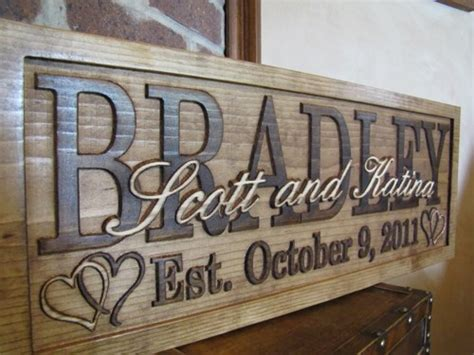 Handmade Wooden Signs Personalized - family last name sign personalized carved custom wooden