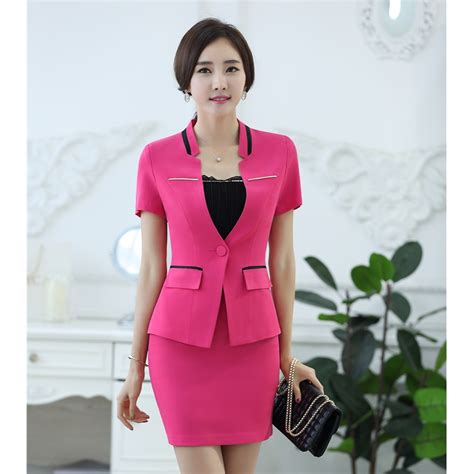 styles for working suits new 2018 summer formal red blazer women skirt suits work