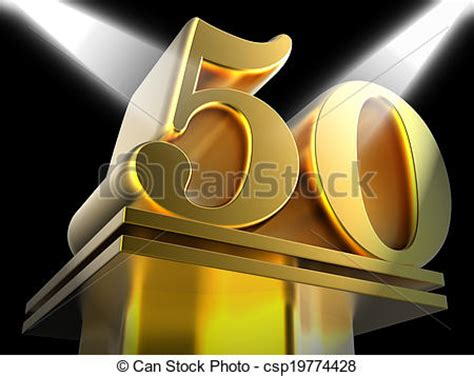 Pedestal Meaning In Stock Photo Of Golden Fifty On Pedestal Means Awards