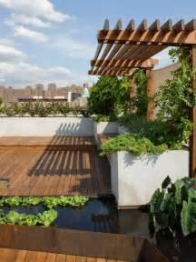 Patio Terrace by Roof Garden Terrace Design With Wooden Floor Make Modern
