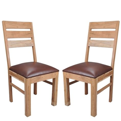 Chevron Dining Chairs Chevron Wooden Dining Chair In Brown Faux Leather In A Pair