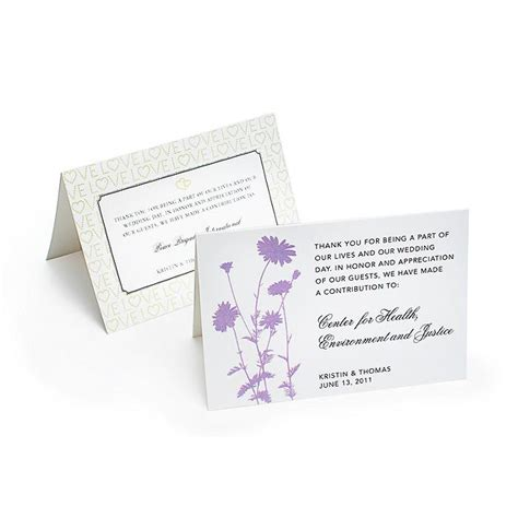Card Charity - wedding gifts charity wedding favors tent cards