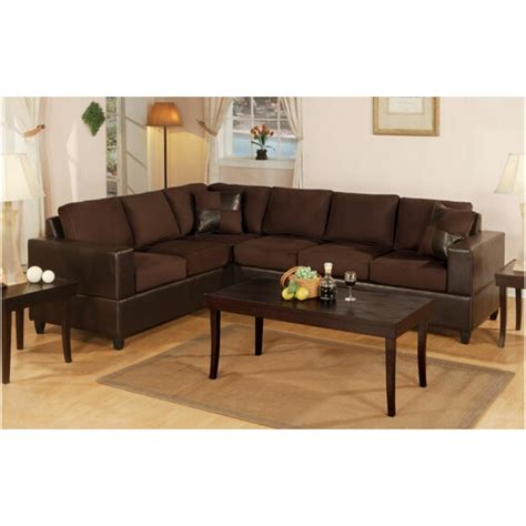 free sectional couch poundex 2 pc chocolate microfiber two tone reversible
