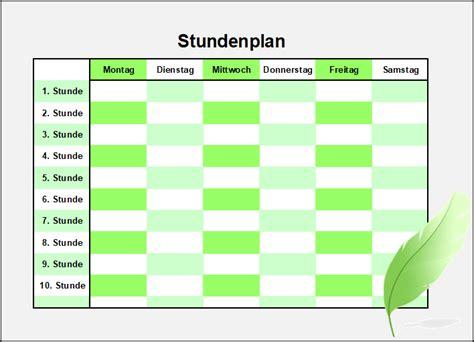 kostenlose stundenplanvorlagen office lernencom