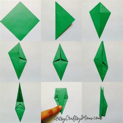 How To Make A Origami With Stem - easy origami tulip craft for artsy craftsy
