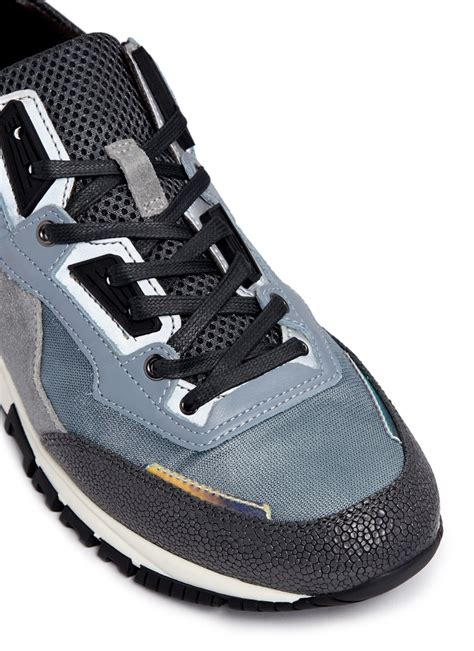 lanvin s sneakers lanvin iconic trail leather suede sneakers in gray for